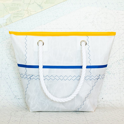 Recycled Sail Tote with Yellow Binding