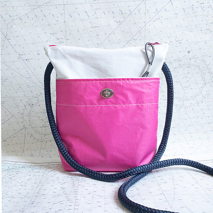 Recycled Sail Crossbody Purse with Pink Pocket