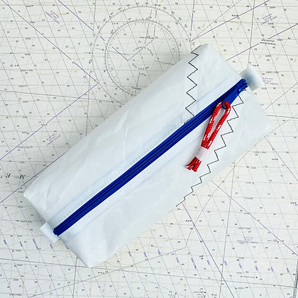 Large Recycled Sail Dopp Kit - with Royal Blue Zip and red pull