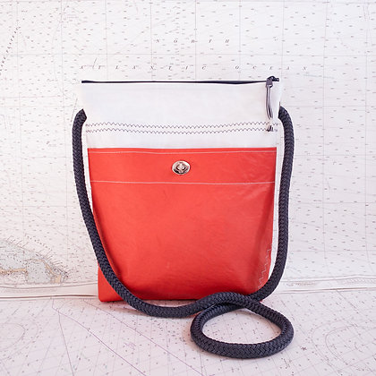 Large Recycled Sail Crossbody Purse with Red