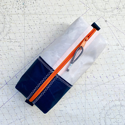 Large Recycled Sail Dopp Kit - with Navy Band and orange zip