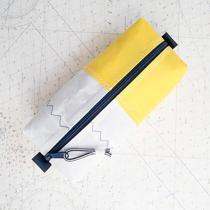 Medium Recycled Sail Dopp Kit - with yellow