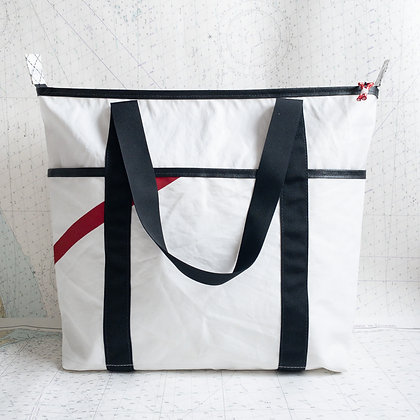 Large Recycled Sail Tote with Red