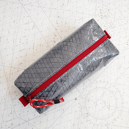 Large Gray Recycled Sail Dopp Kit - with red zip