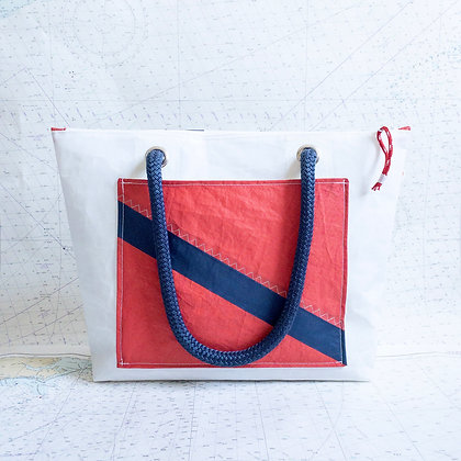 Medium Recycled Sail Tote with Red Striped Pocket