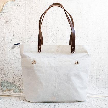Recycled Sail Tote with Leather Handles