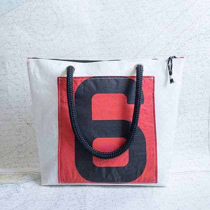 Medium Recycled Sail Tote with Red and Black 6 Pocket