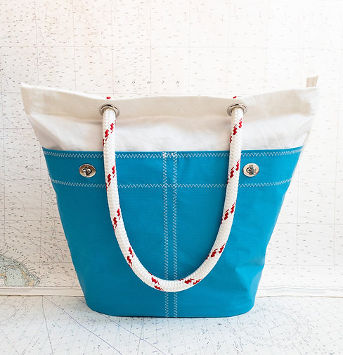 Recycled Sail Tote with Aqua Pockets