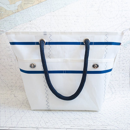 Recycled Sail Tote with Navy Binding