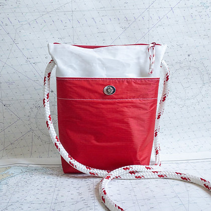 Recycled Sail Crossbody Purse with Red