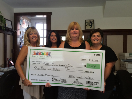 BHG Rand Suffern Presents $1,000 Check to Suffern Jr Woman's Club