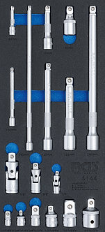 BGS 4144 Werkstattwageneinlage 1/3: Verlängerungs-, Adapter- und Gelenk-Satz