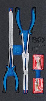 BGS 9836 Werkstattwageneinlage 1/3: Doppelgelenk-Sprengringzangen-Satz   345 mm