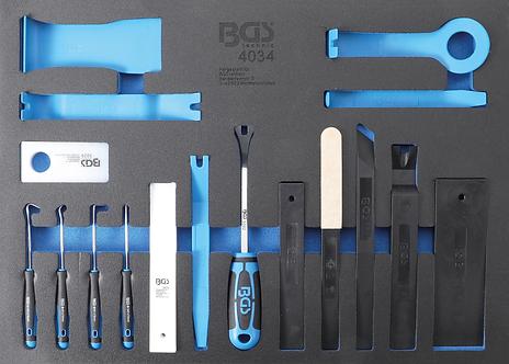 BGS 4034 Werkstattwageneinlage 3/3: Lösewerkzeuge, Montagekeile & Haken   17-tlg