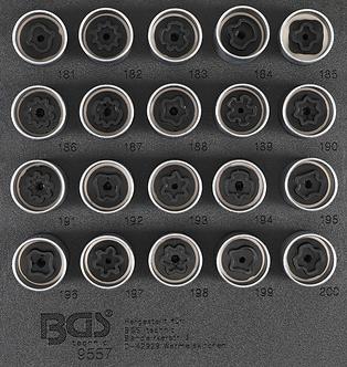 BGS 9557 Werkstattwageneinlage 1/6: Felgenschloss-Werkzeug-Satz für Opel (Typ B)