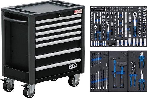 BGS 4140 Werkstattwagen | 7 Schubladen | extra geringe Bauhöhe | mit 209 Werkzeu