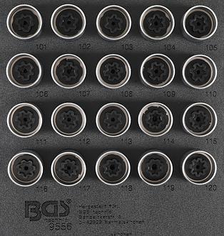 BGS 9556 Werkstattwageneinlage 1/6: Felgenschloss-Werkzeug-Satz für Opel (Typ A)