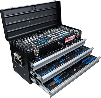 BGS 3318 Metall-Werkzeugkoffer | 3 Schubladen | mit 143 Werkzeugen