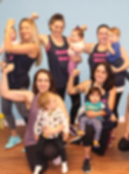 Moms dancing with babies. Babywearing dance fitness class on Long Island. Mommy and me workout class.