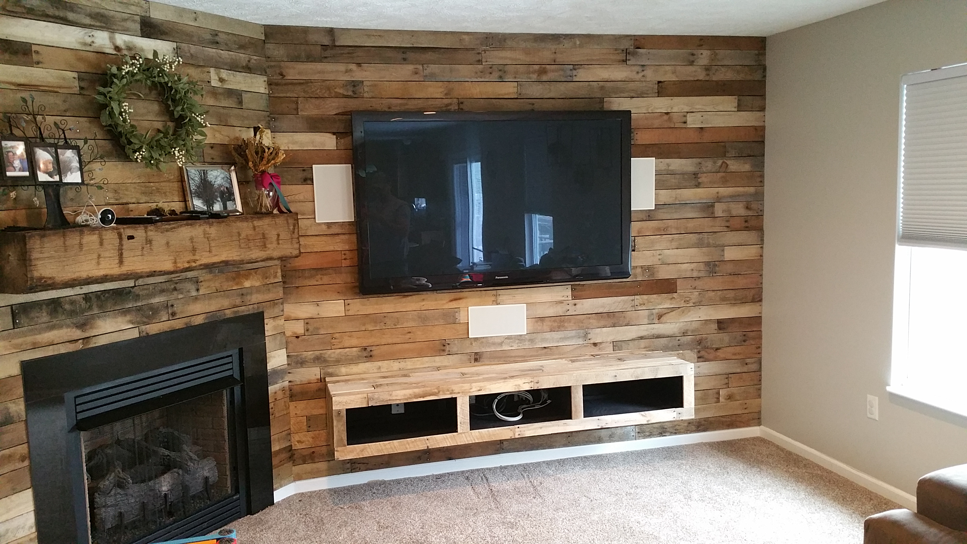 Rustic Pallet Wall with media shelf