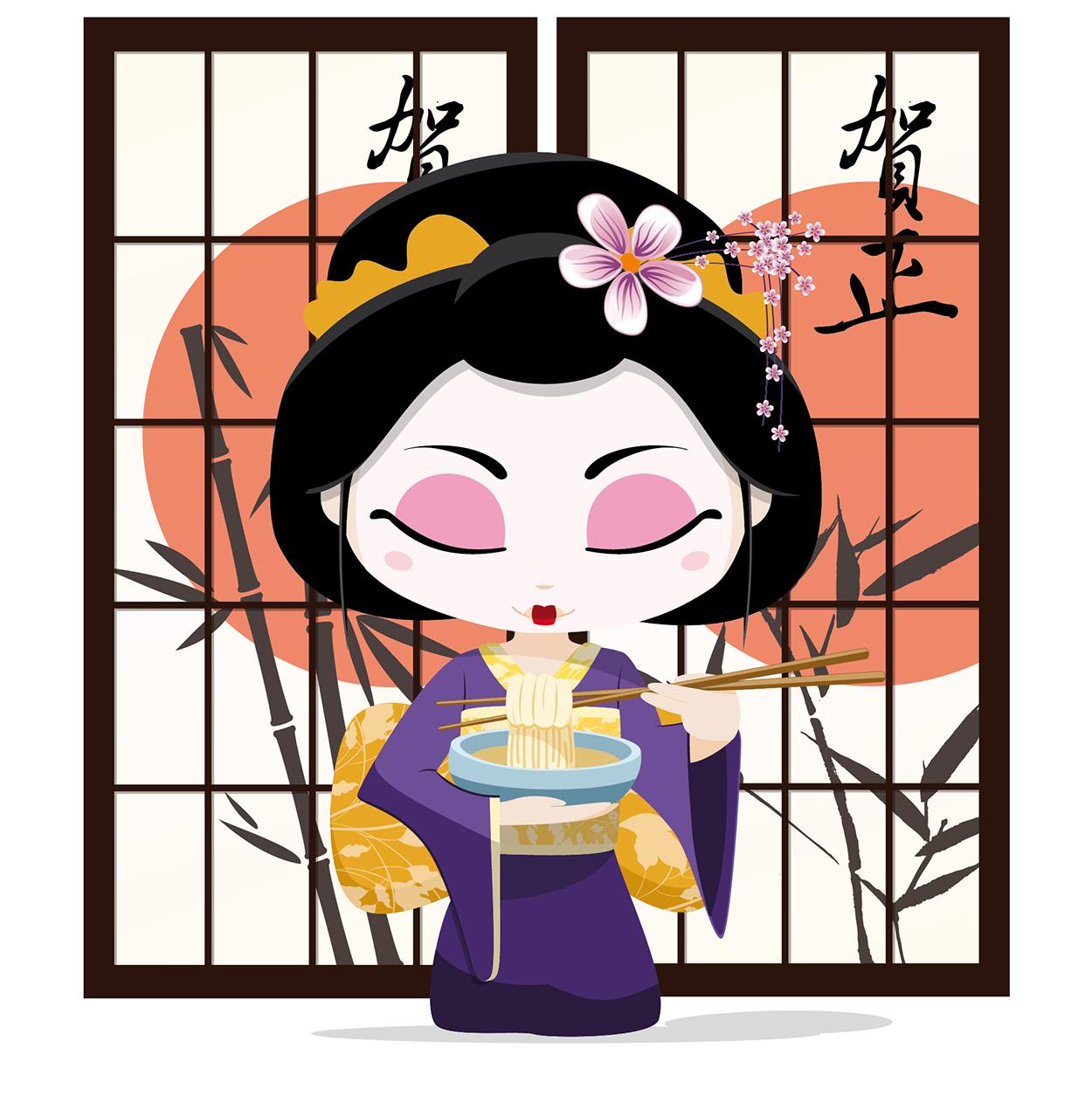 Geisha comiendo