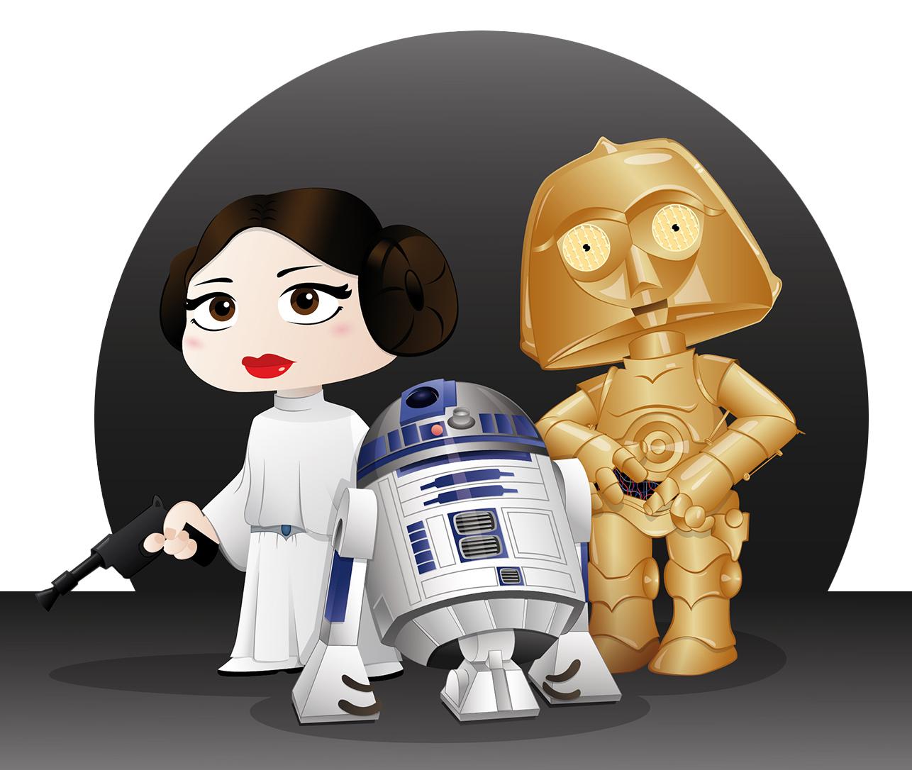 Starwars, C3PO, R2D2 y Princesa Leia
