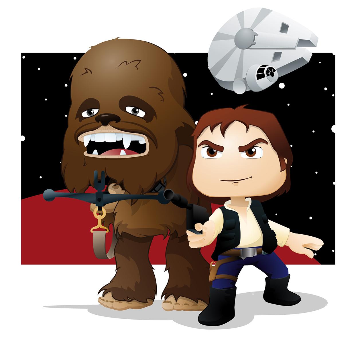 StarWars, HanSolo y Chewbacca