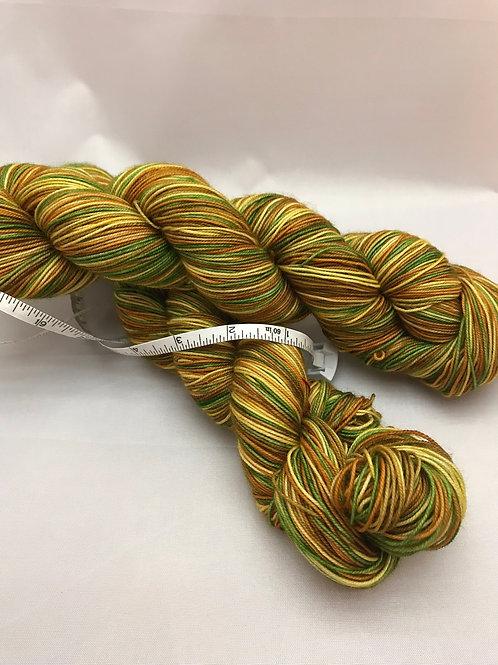 WKNC-Stripe Sock - Green Rust Brown Gold                                S-5