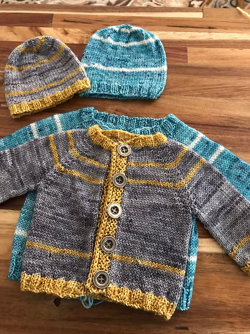 Simple Striped Baby Sweater & Hat Pattern