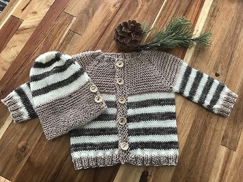 Garter Striped Baby Sweater Pattern