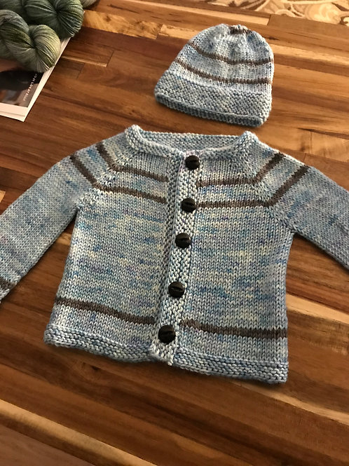 Simple Striped Toddler Sweater & Cap Pattern