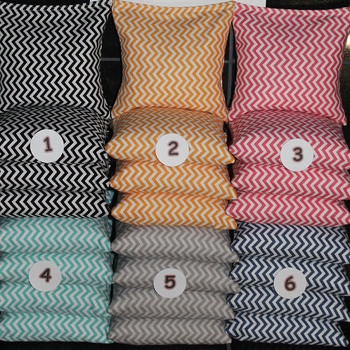 Small Chevron corn hole wedding bags, PICK two colors, set of (8)