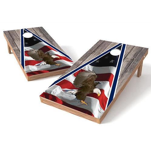 Flag Wood Full Color Eagle Cornhole Wrap