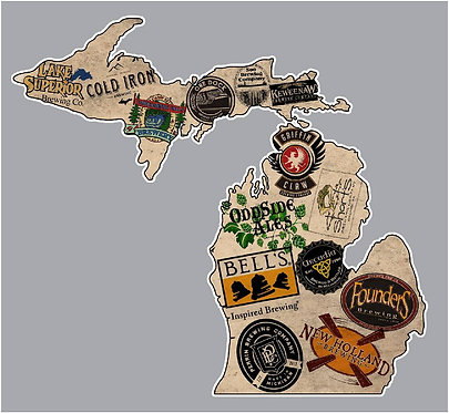 State of Michigan Beers Michigan Brewery Decal Sticker