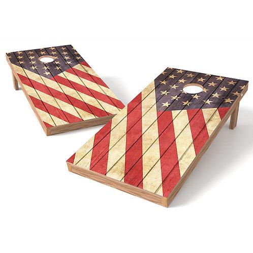 Rustic American Flag Cornhole Wrap Decal
