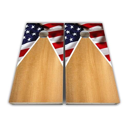 Triangle American Flag Cornhole Board Set Baggo Set