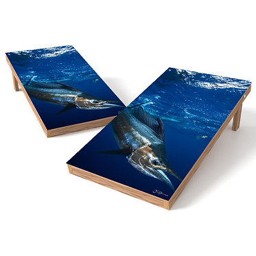 Marlin Wrap 1 Blue Waters Cornhole Board Wrap