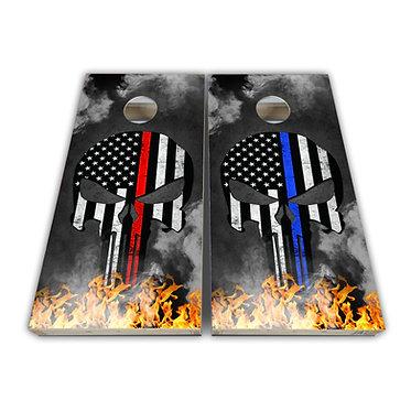 United States Flag Cornhole Red Line Blue Line Skull Decal Wrap