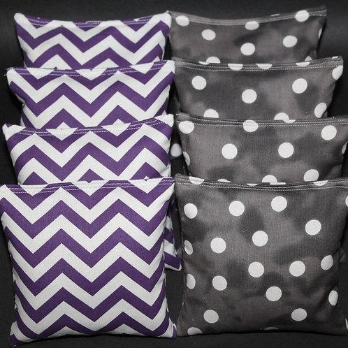 Purple & Smokey Black Polka Dot Wedding Cornhole bags, set of (8)