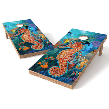 Seahorse 1 Cornhole Board Wrap