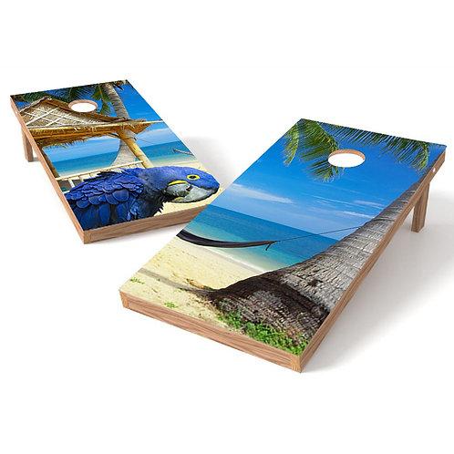 Tropical Beach Parrot Cornhole Board Wrap B