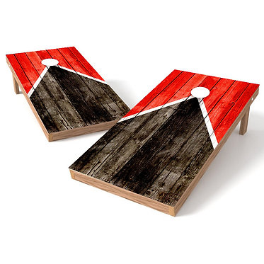 Half Triangle Worn Wood Cornhole Board Wrap