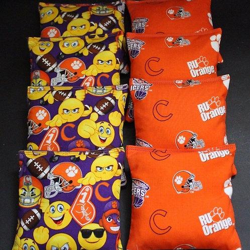 Clemson Emoji and Tigers Helmet Cornhole bags, set of (8)