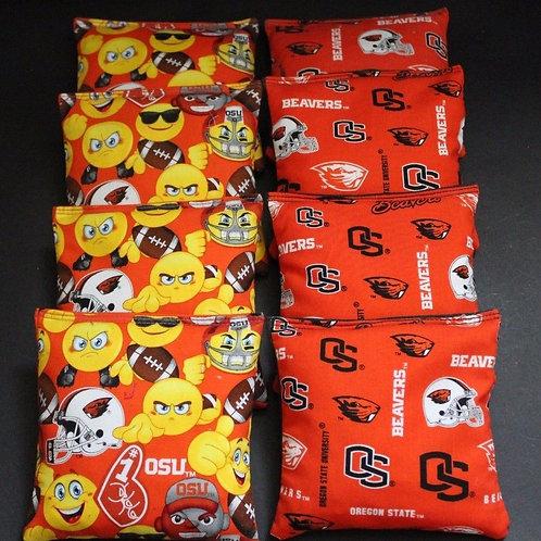 Oregon State Emoji and Beavers Cornhole bags, set of (8)