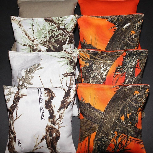 White REALTREE Orange Camo Hunting Fishing Cornhole bags, set of (8)