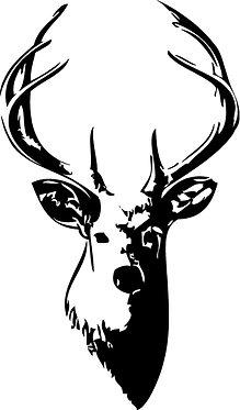 Deer Buck head silhouette Cornhole Board Decal Sticker