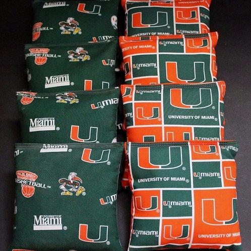 University of Miami Hurricanes and Ibis Cornhole bags, set of (8)