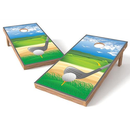 Teeing Off Golf Cornhole Board Wrap