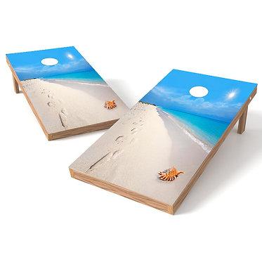 Sandy Beach Walk Cornhole Board Wrap