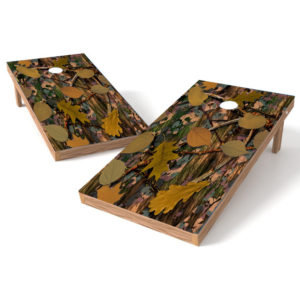 Brown Leaf Camo Cornhole Board Decal